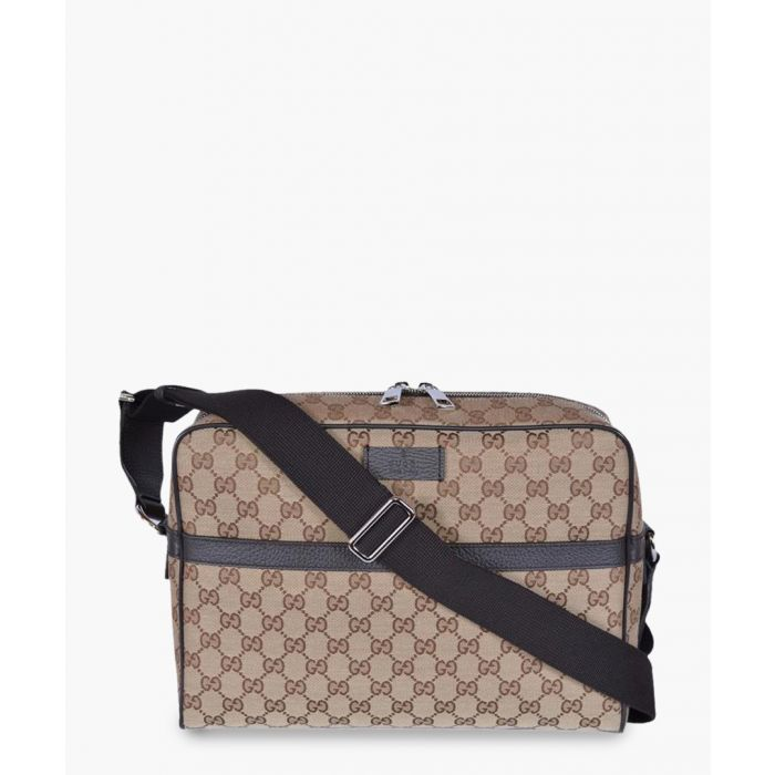 Image for Beige GG canvas and leather messenger