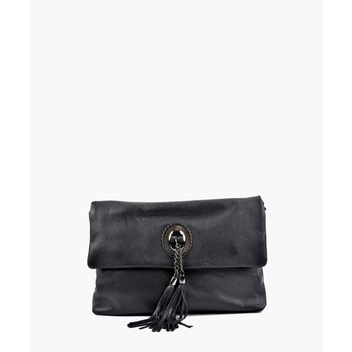 Image for Black fold-over leather crossbody
