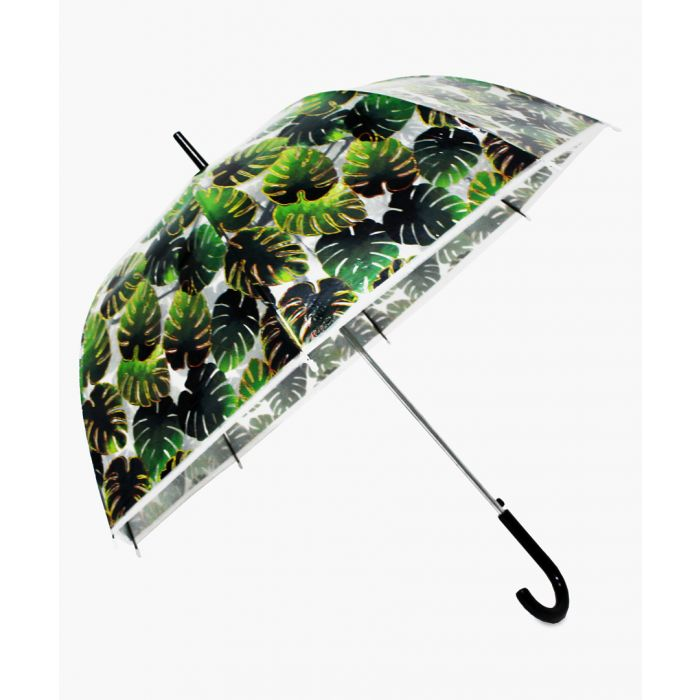 Image for Green and gold-tone palm leaf transparent umbrella