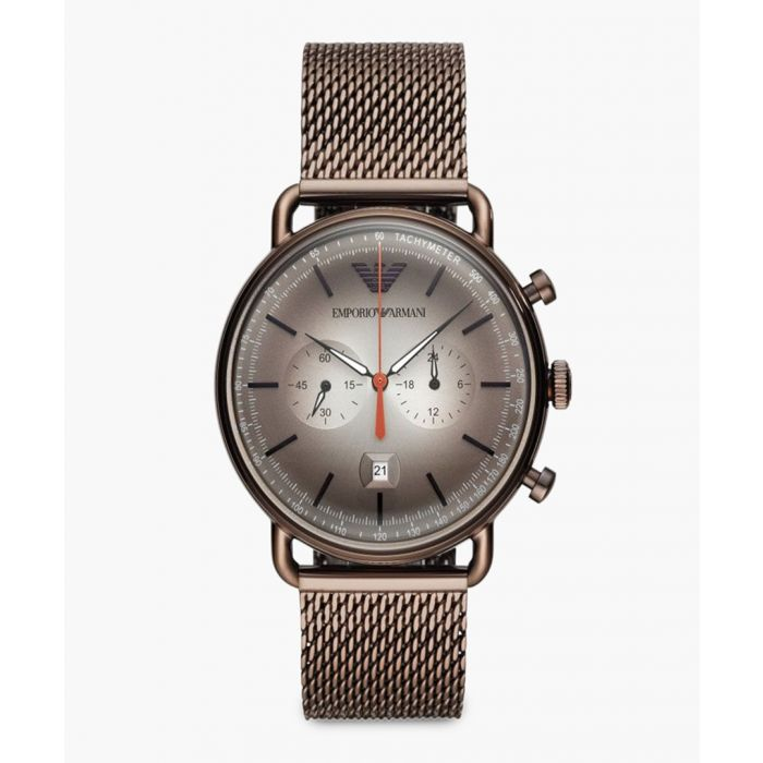 Image for Bi-Compax brown chronograph watch