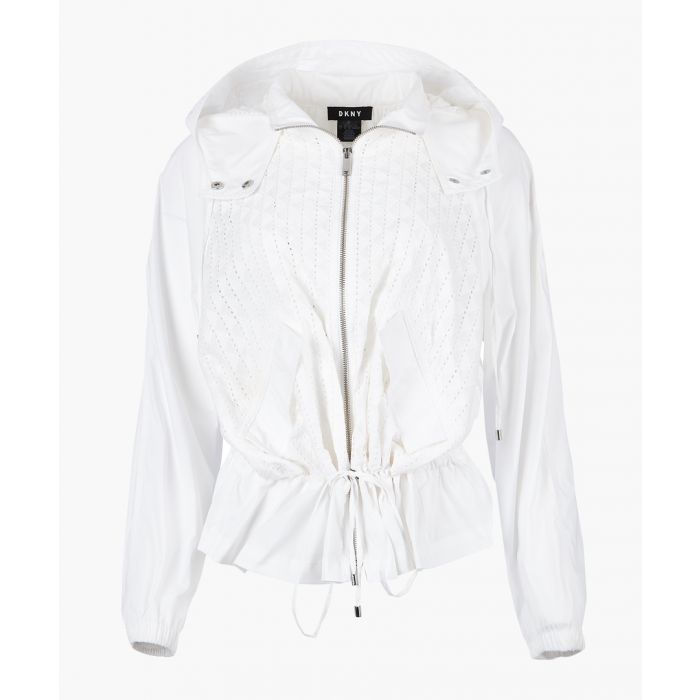 Image for White hooded ruffle jacket