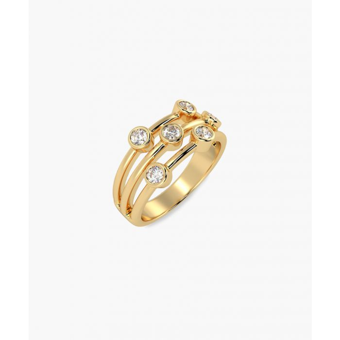 Image for Gold round diamond bubble ring
