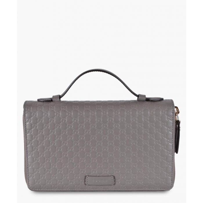 Image for Grey Microguccissima leather travel wallet