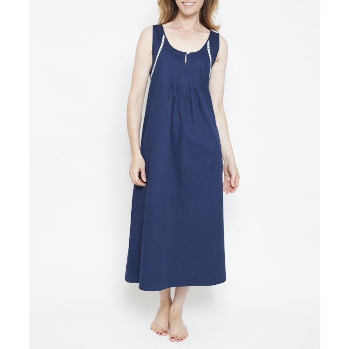 Image for Adele navy pure cotton nightdress