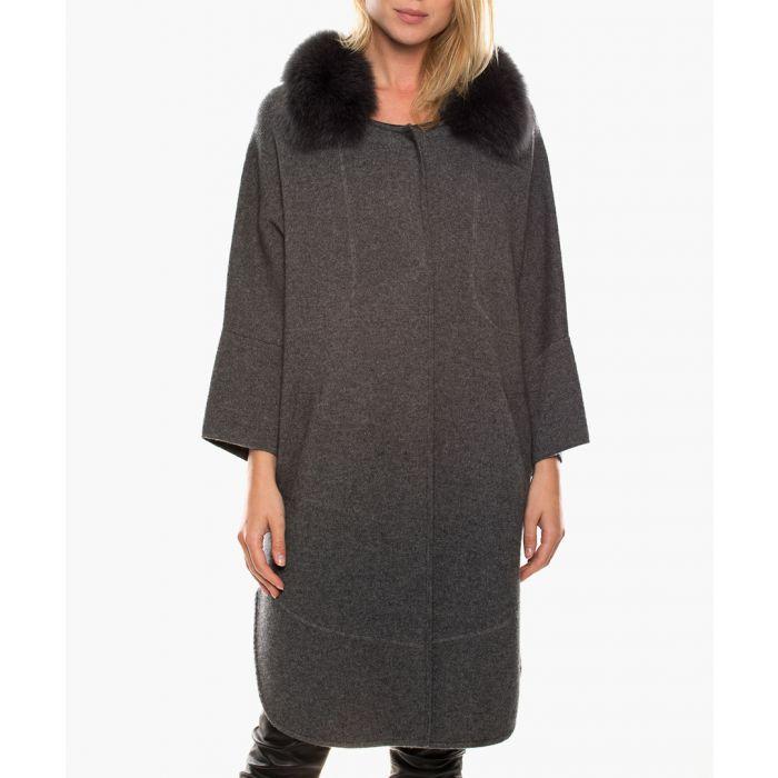 Image for Prila grey merino wool & cashmere cropped sleeve jacket