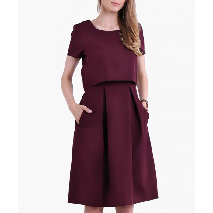 Image for Maroon Woven Dress