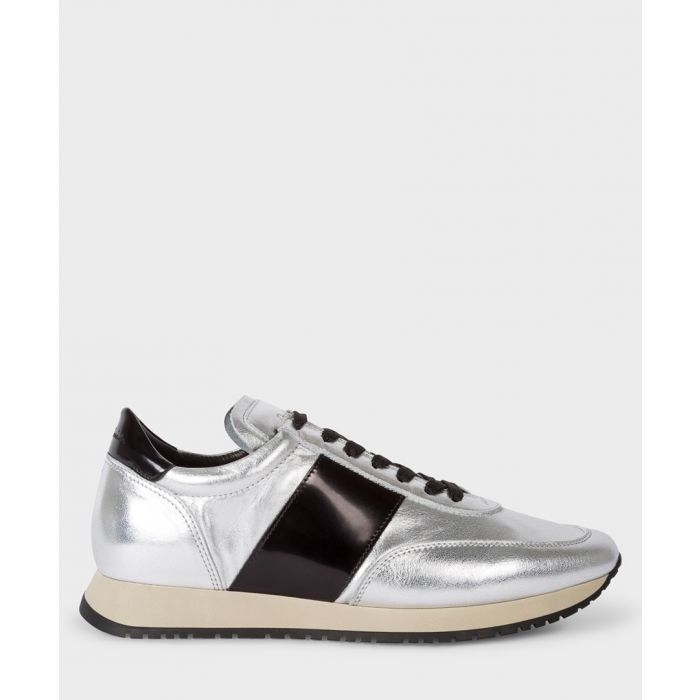 Image for Silver-tone leather contrast trainers