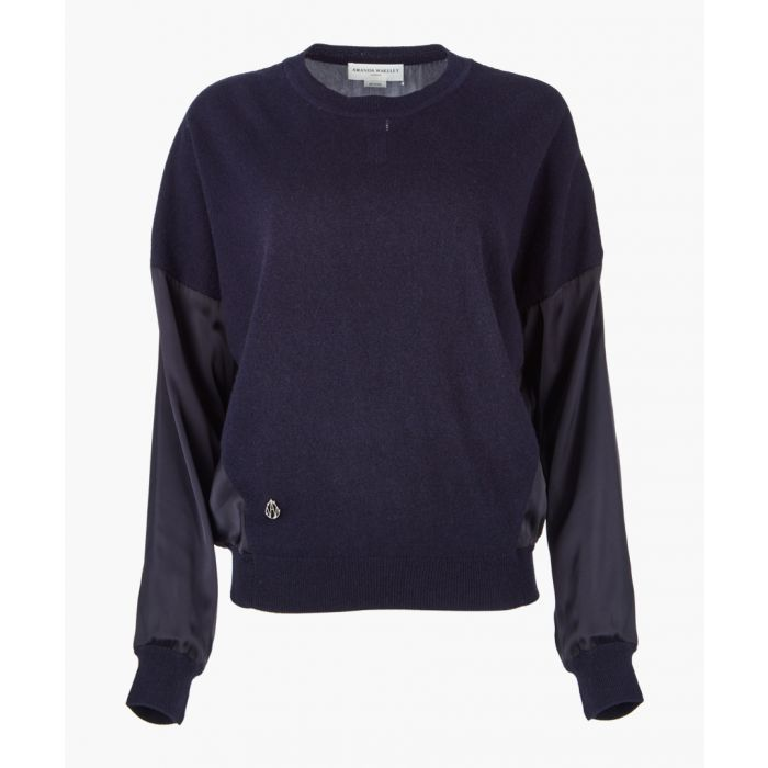 Image for Navy cashmere blend knit top