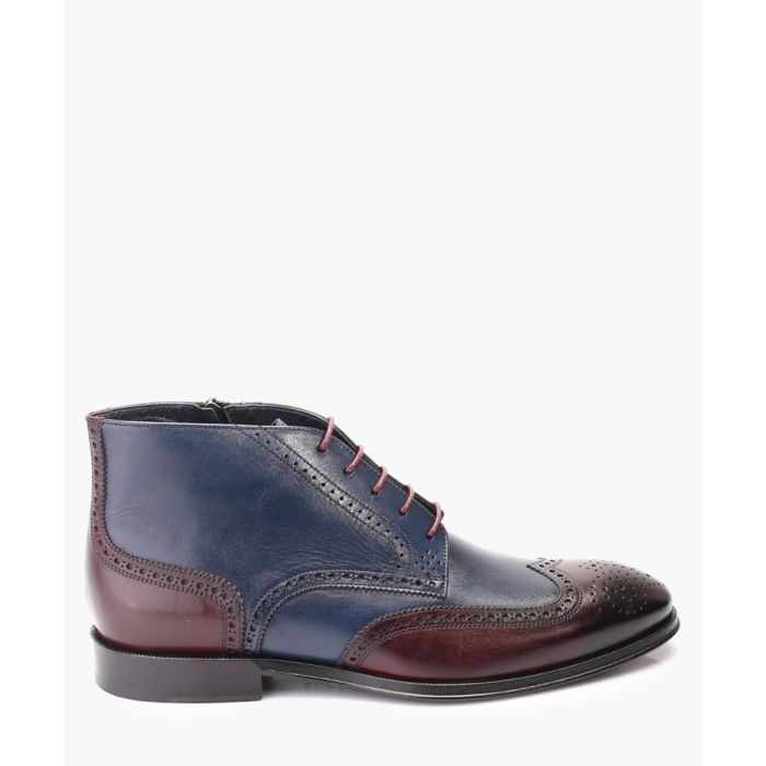 Image for Navy and bordeaux leather boots