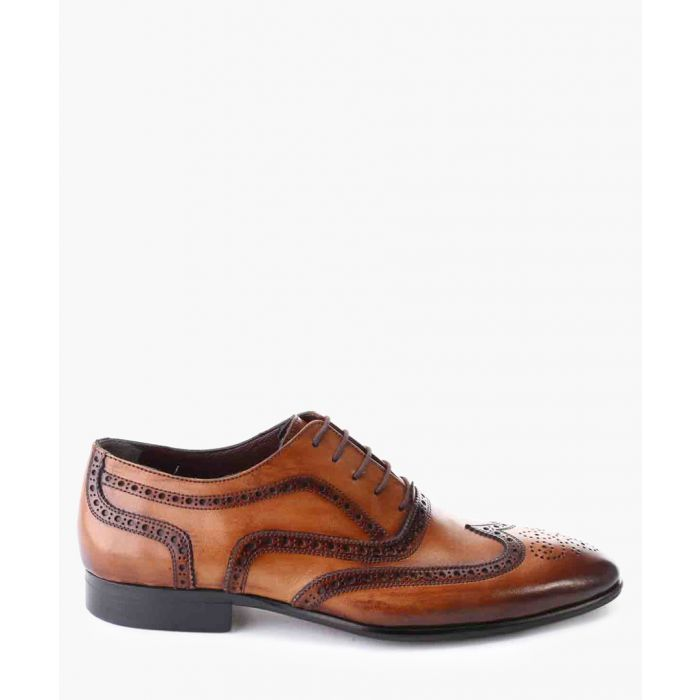Image for Tan leather oxford wing-tip shoes