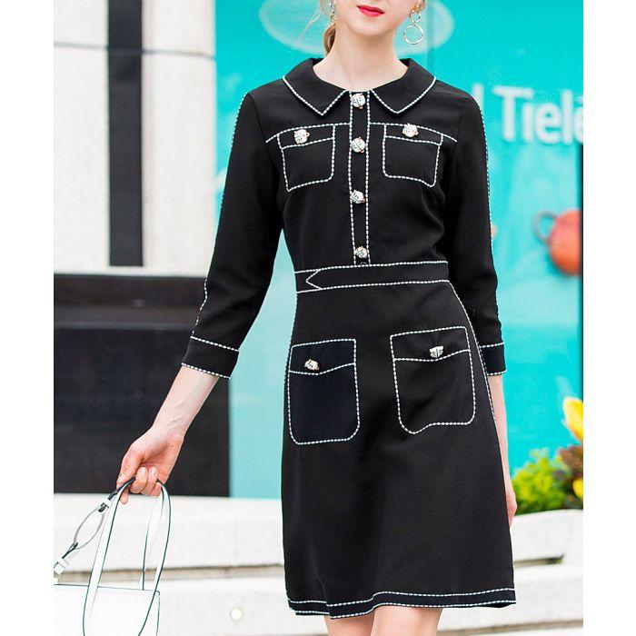 Image for Black pocket detail knee-length dress