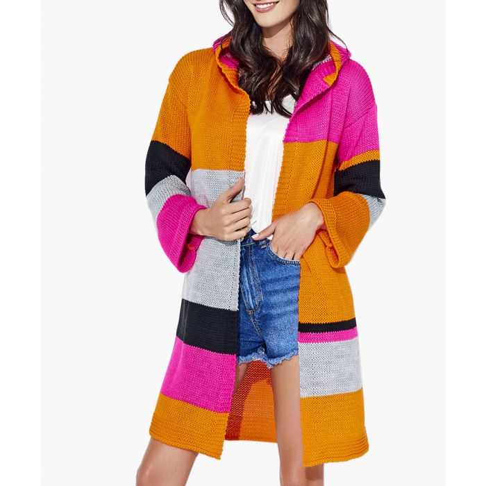 Image for Orange and fuchsia knitted sweater