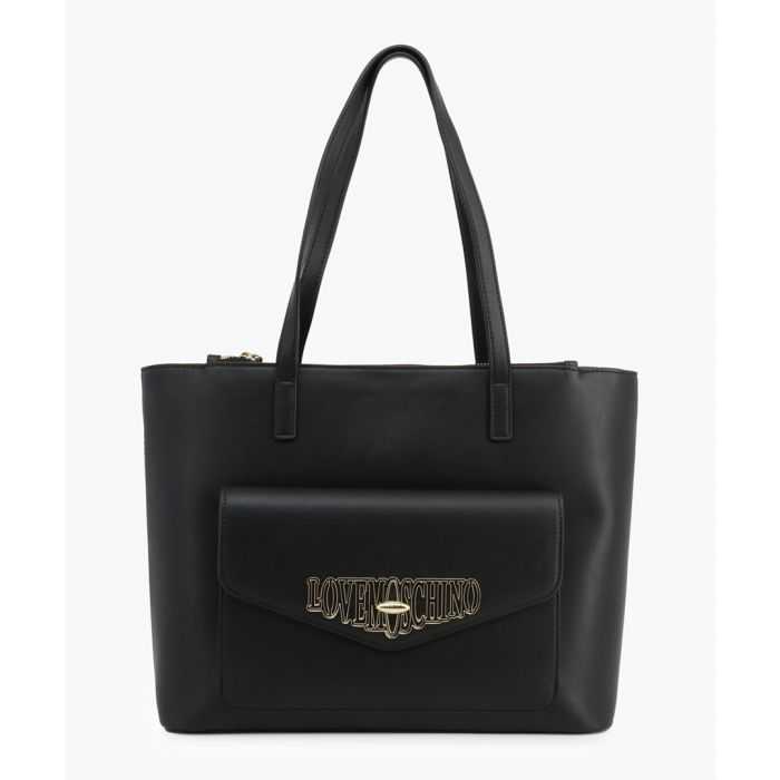 Image for Black faux-leather grab bag