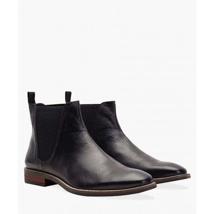 Image for Black faux-leather square toe Chelsea boots