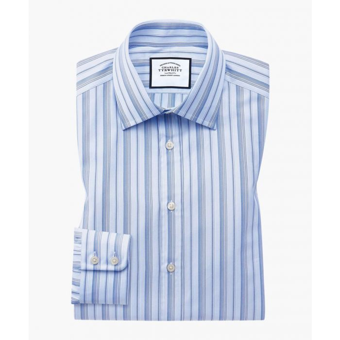 Image for Blue Egyptian cotton striped extra slim fit single cuff shirt