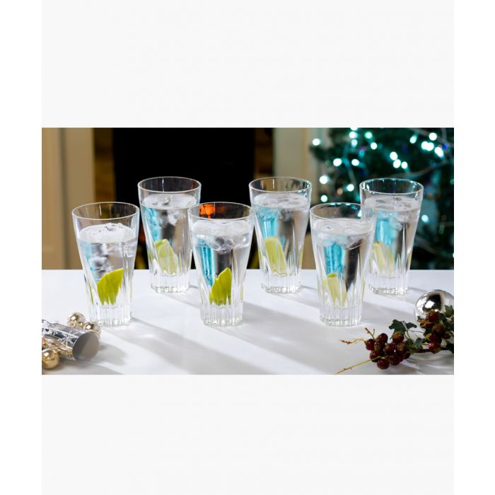 Image for 6pc Fluente Crystal hi-Ball cocktail water tumblers glasses 400ml