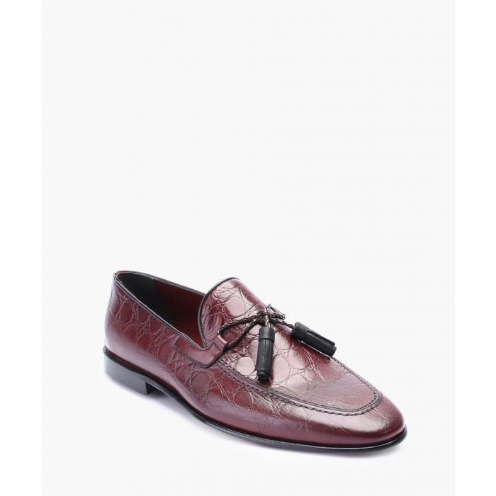 Image for Bordeaux leather tassel front loafers