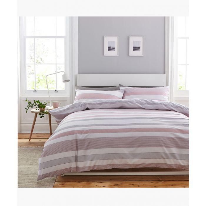 Image for Newquay stripe pink cotton blend king duvet set