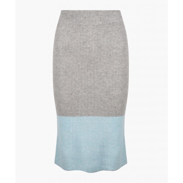 Image for Grey and blue cashmere blend skirt