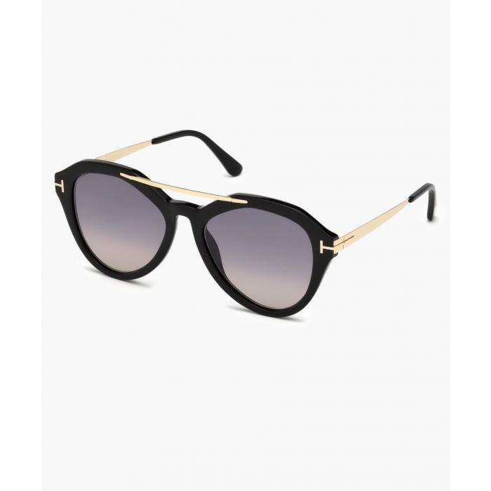 Image for Shiny black and gold-tone sunglasses
