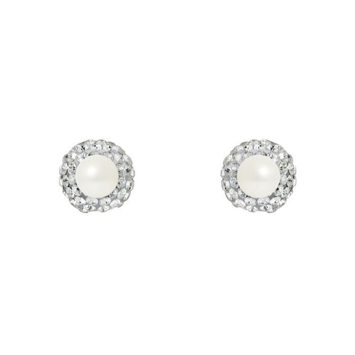 Image for 0.6cm pearl and crystal dual-sided studs