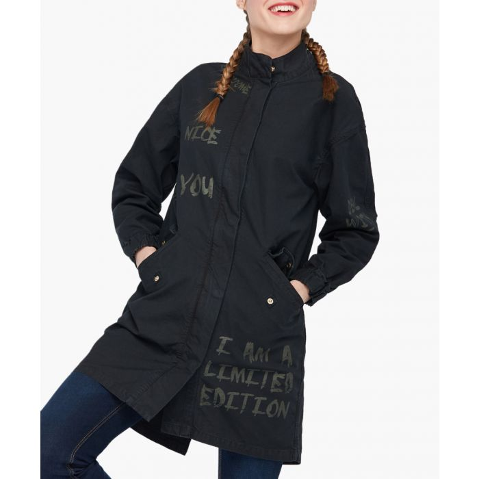 Image for Black pure cotton parka