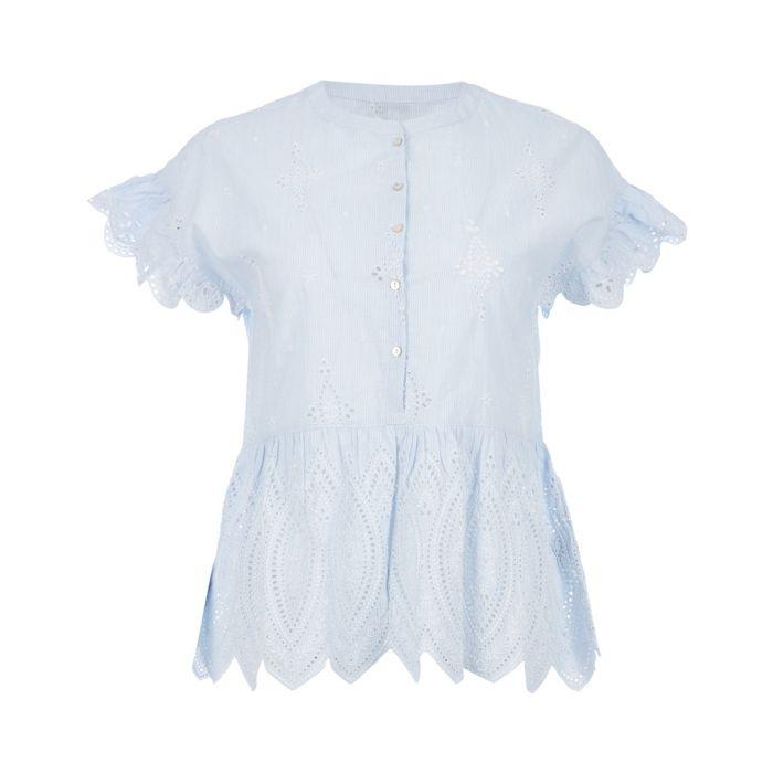 Image for Cerelia pale blue pure cotton ruffle top