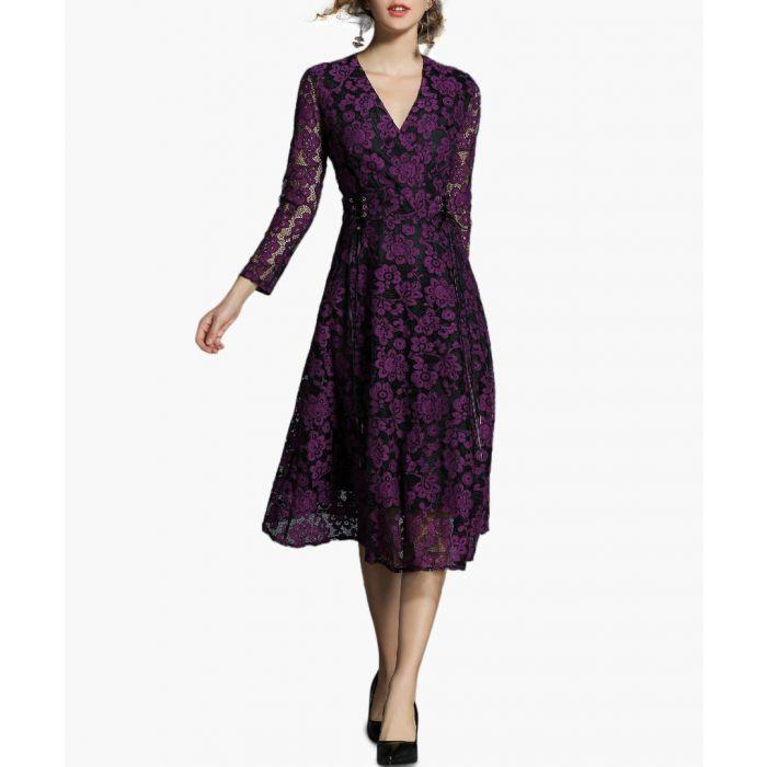 Image for Violet lace wrap midi dress