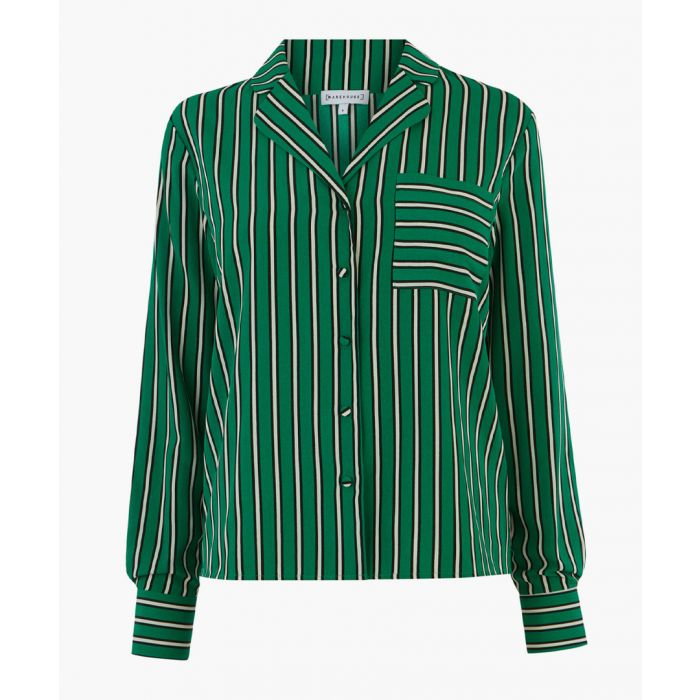 Image for Green stripe pyjama shirt