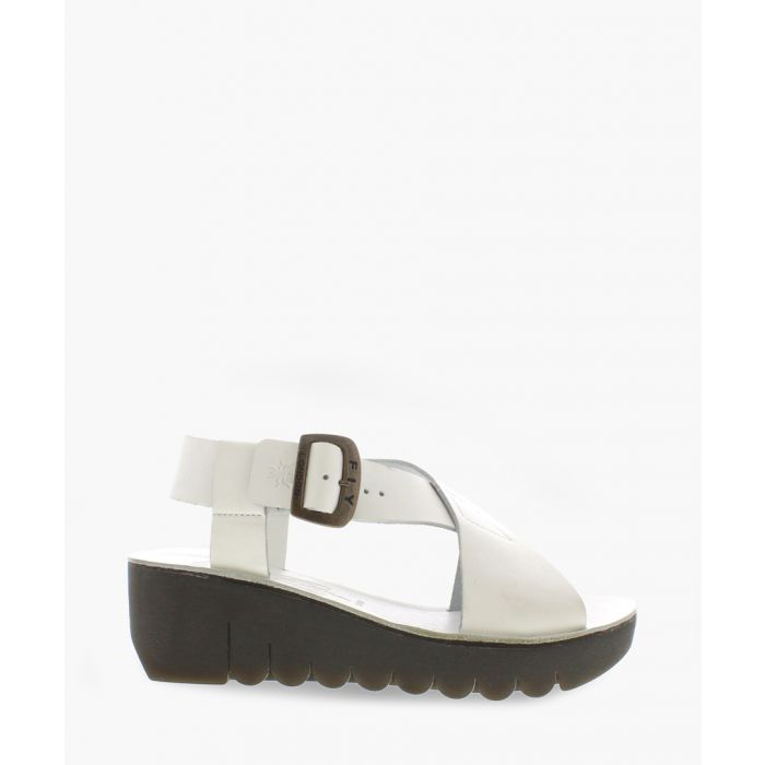 Image for Off white leather buckle wedges