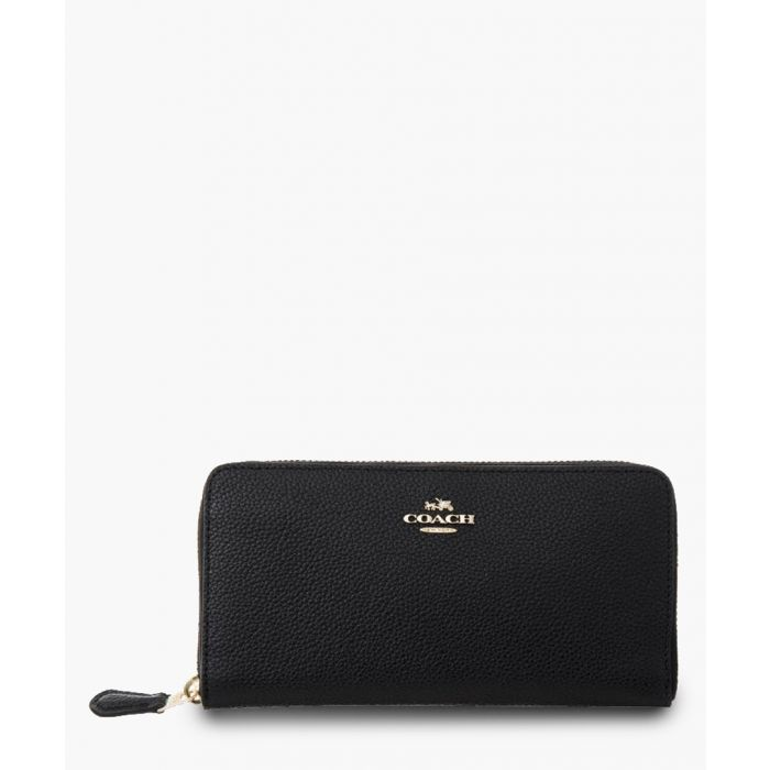 Image for Accordion black zip-around purse