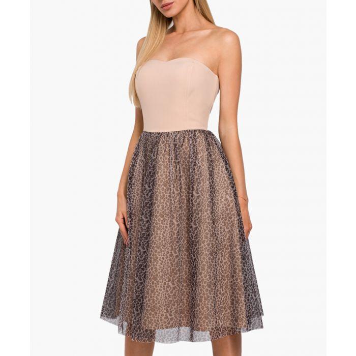 Image for Beige animal print skirt flared dress