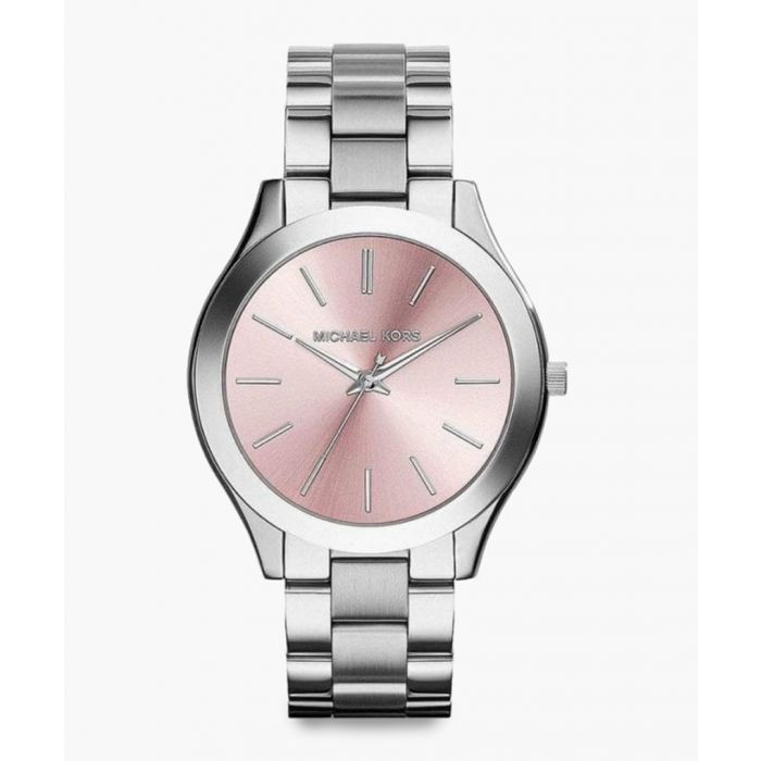 Image for Silver-tone and pink stainless steel analogue watch