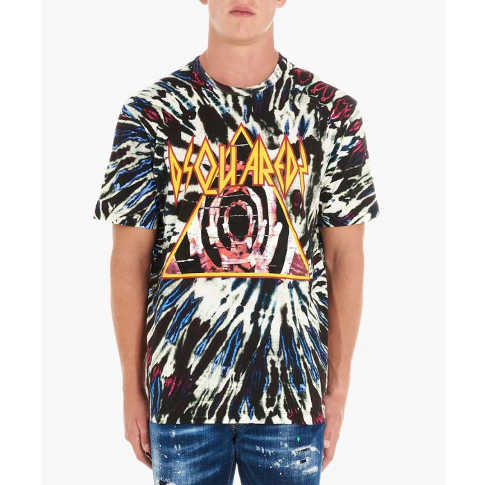Image for Multi-coloured cotton tie-dye print T-shirt
