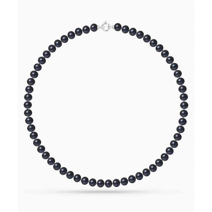 Image for Gold-plated and black freshwater pearl semi-round necklace