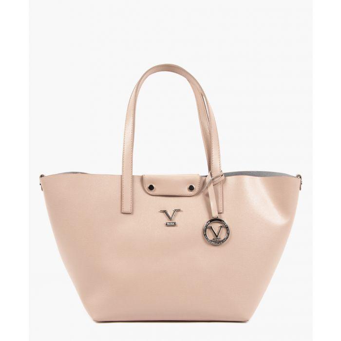 Image for Pink leather trapeze shopper bag