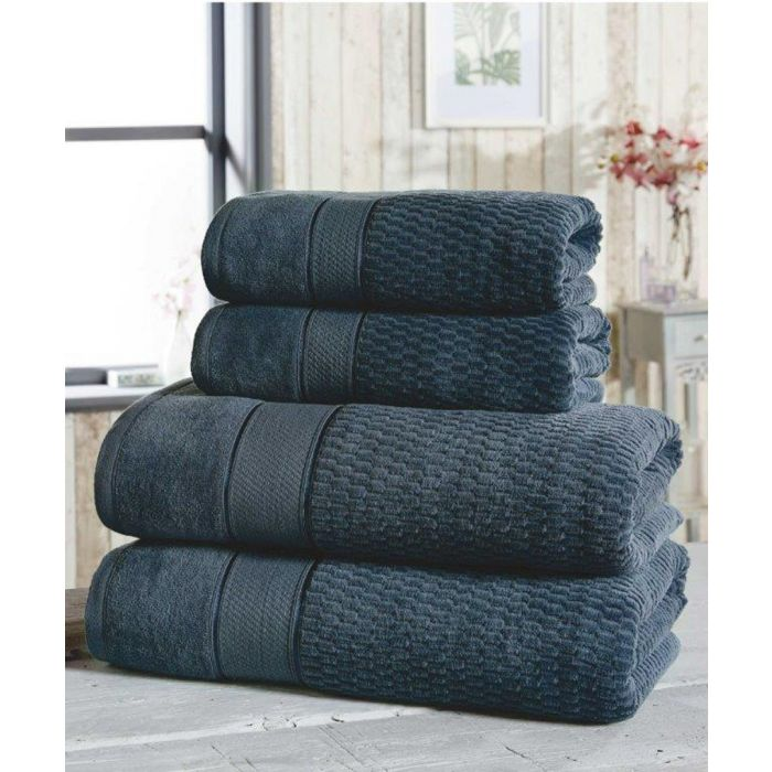 Image for 4pc navy cotton towels