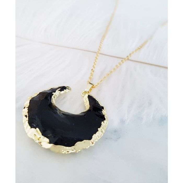 Image for Crescent 14k gold-plated and black obsidian necklace