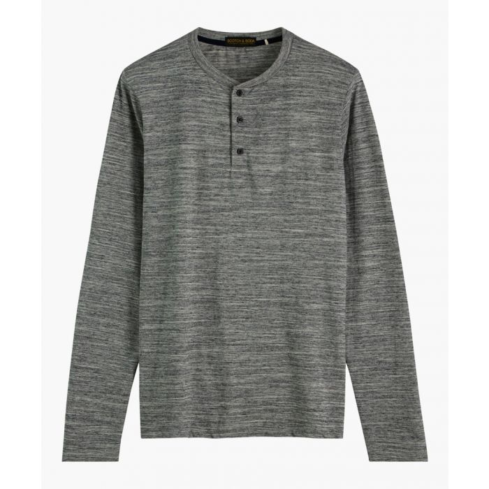 Image for Grey melange cotton Henley long sleeve T-shirt