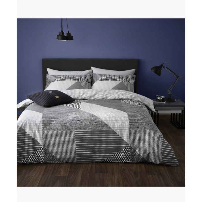 Image for Larsson geo grey cotton blend single duvet set