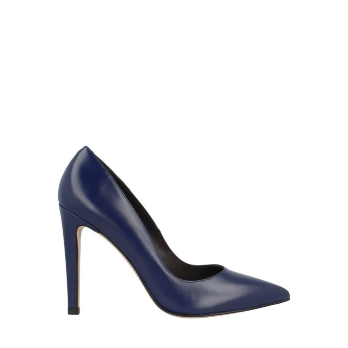 Image for Blue leather court heels