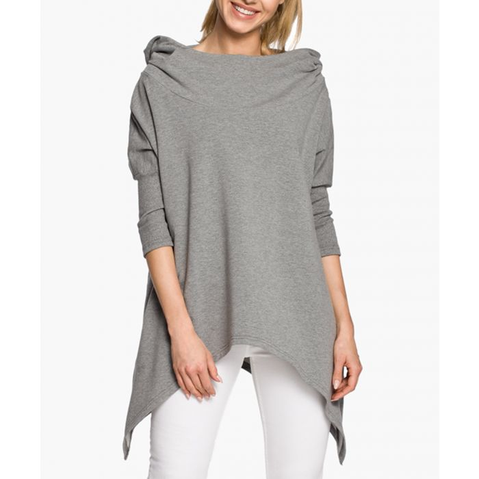 Image for Grey cotton 3/4 sleeve asymmetric cape