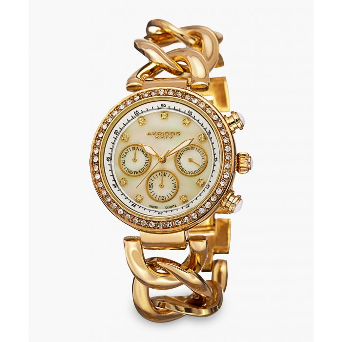 Image for Gold-tone and crystal link bracelet watch