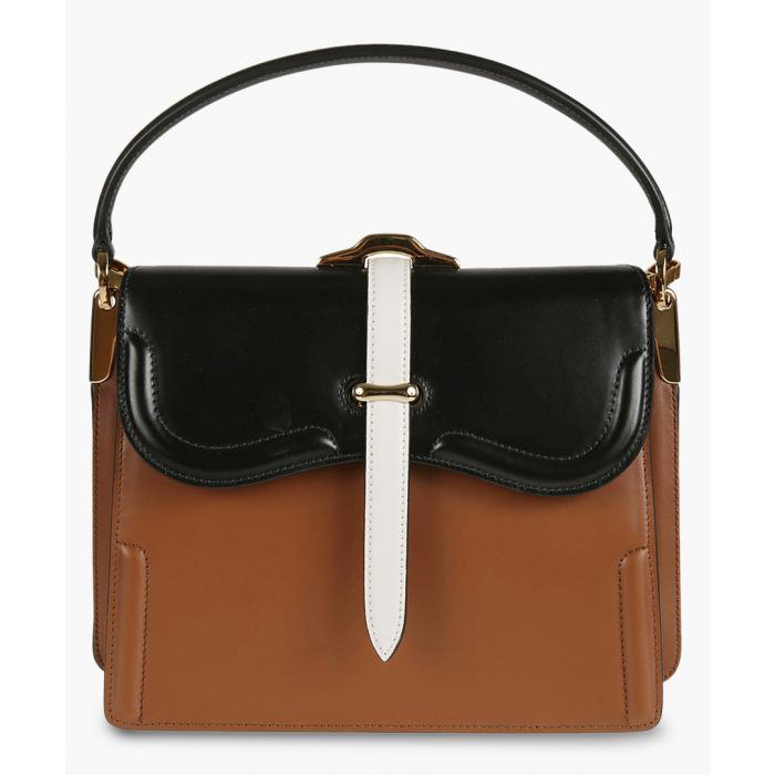 Image for Cognac and black leather grab bag