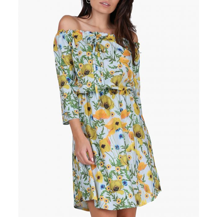 Image for Yellow & Poppies Woven Dress