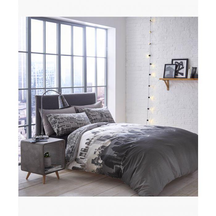 Image for City scape multi-coloured  cotton blend king duvet set