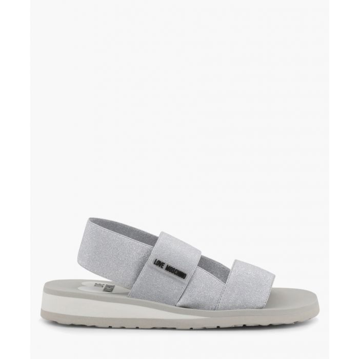 Image for silver-tone fabric panel sandals