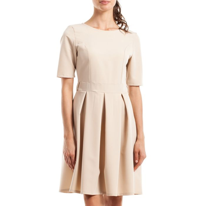 Image for Beige short sleeve pleated dress