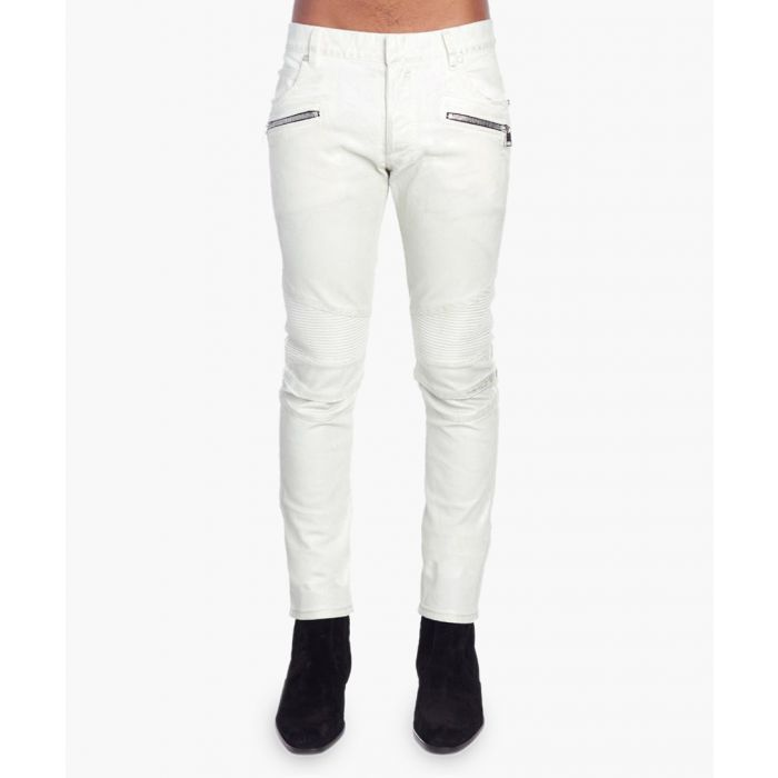 Image for White cotton skinny biker jeans