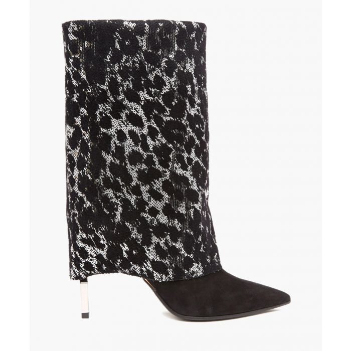 Image for Black leather sequinned leopard boots
